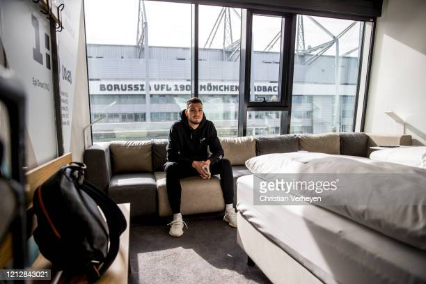Ramy Bensebaini of Borussia Moenchengladbach arrive in his room at the H-Hotel during the Pre-Game Quarantine of Borussia Moenchengladbach at...