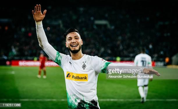 Ramy Bensebaini of Borussia Moenchengladbach celebrates his goal during the Bundesliga match between Borussia Mönchengladbach and FC Bayern München...