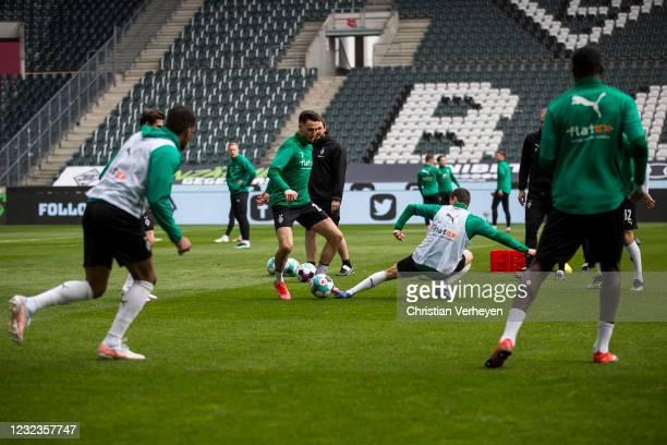 Ramy Bensebaini of Borussia Moenchengladbach in action before the Bundesliga match between Borussia Moenchengladbach and Eintracht Frankfurt at...