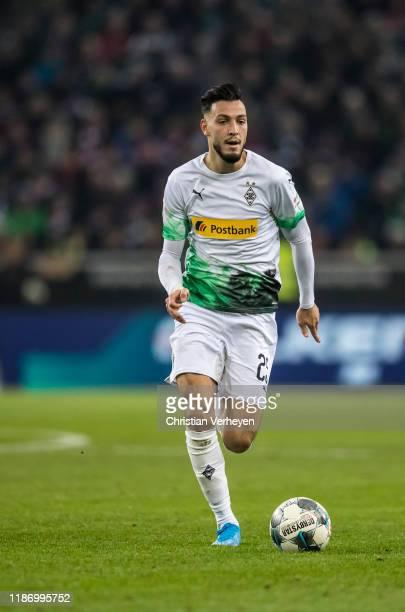 Ramy Bensebaini of Borussia Moenchengladbach in action during the Bundesliga match between Borussia Moenchengladbach and FC Bayern Muenchen at...