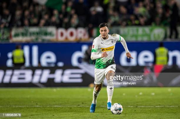 Ramy Bensebaini of Borussia Moenchengladbach in action during the Bundesliga match between VfL Wolfsburg and Borussia Moenchengladbach at Volkswagen...