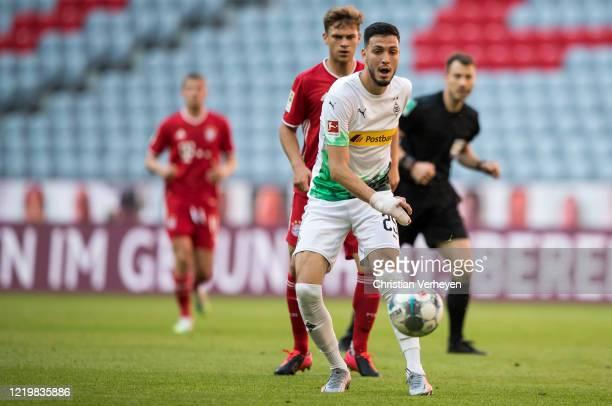 Ramy Bensebaini of Borussia Moenchengladbach in action during the Bundesliga match between FC Bayern Muenchen and Borussia Moenchengladbach at...