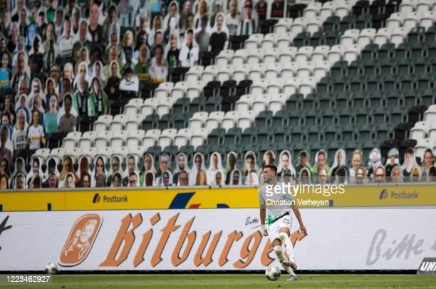 Ramy Bensebaini of Borussia Moenchengladbach in action during the Bundesliga match between Borussia Moenchengladbach and Hertha BSC at BorussiaPark...