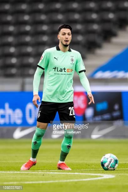 Ramy Bensebaini of Borussia Moenchengladbach in action during the Bundesliga match between Hertha BSC and Borussia Moenchengladbach at Olympiastadion...