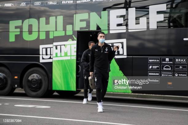 Ramy Bensebaini of Borussia Moenchengladbach is seen before the Bundesliga match between Borussia Moenchengladbach and Eintracht Frankfurt at...