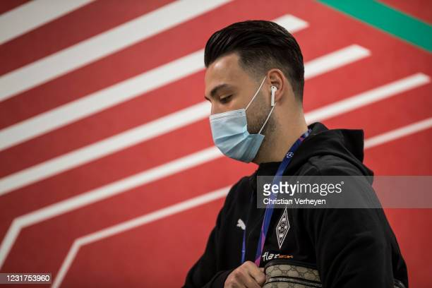 Ramy Bensebaini of Borussia Moenchengladbach is seen before the UEFA Champions League Round Of 16 Leg Two match between Manchester City and Borussia...