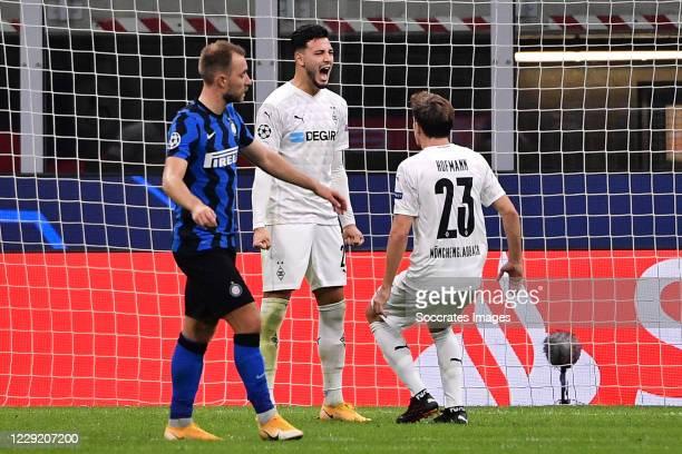 Ramy Bensebaini of Borussia Monchengladbach celebrates 1-1 with Jonas Hofmann of Borussia Monchengladbach during the UEFA Champions League match...