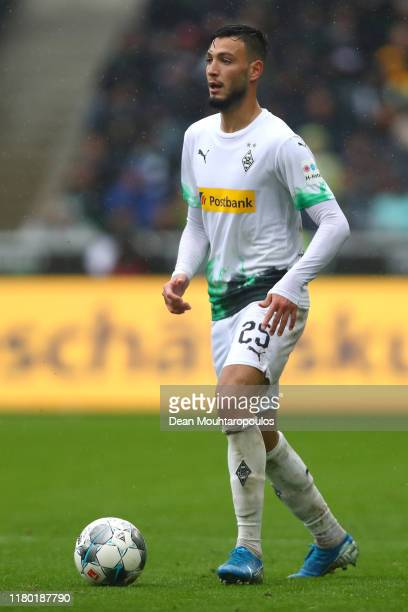 Ramy Bensebaini of Borussia Monchengladbach of Borussia Monchengladbach in action during the Bundesliga match between Borussia Moenchengladbach and...