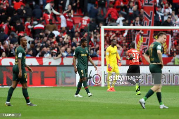 Ramy BENSEBAINI of Monaco looks dejected during the Ligue 1 match between Rennes and Monaco on May 1 2019 in Rennes France