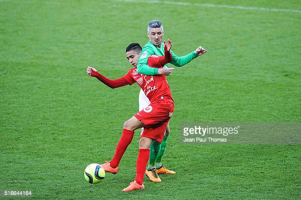Ramy BENSEBAINI of Montpellier and Fabien LEMOINE of Saint Etienne during the French Ligue 1 match between AS SaintEtienne and Montpellier Herault SC...