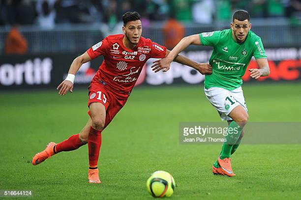 Ramy BENSEBAINI of Montpellier Valentin EYSSERIC of Saint Etienne during the French Ligue 1 match between AS SaintEtienne and Montpellier Herault SC...