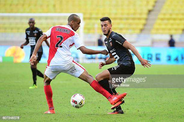 Ramy Bensebaini of Rennes and Fabinho of Monaco during the French Ligue 1 match between AS Monaco and Stade Rennais at Louis II Stadium on September...