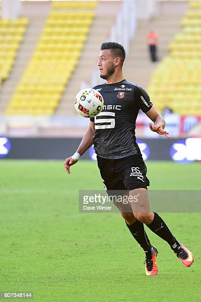 Ramy Bensebaini of Rennes during the French Ligue 1 match between AS Monaco and Stade Rennais at Louis II Stadium on September 17 2016 in Monaco...