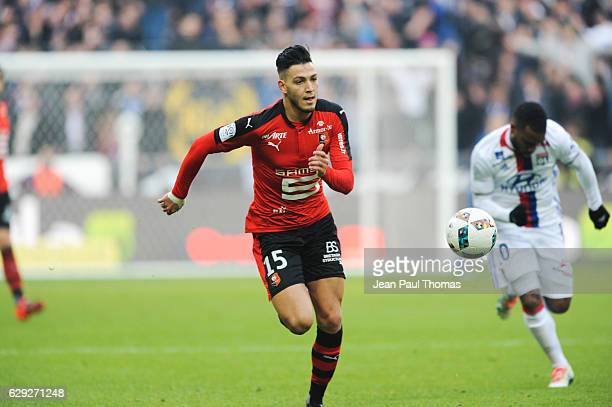 Ramy BENSEBAINI of Rennes during the French Ligue 1 match between Lyon and Rennes at Stade des Lumieres on December 11 2016 in Decimes France