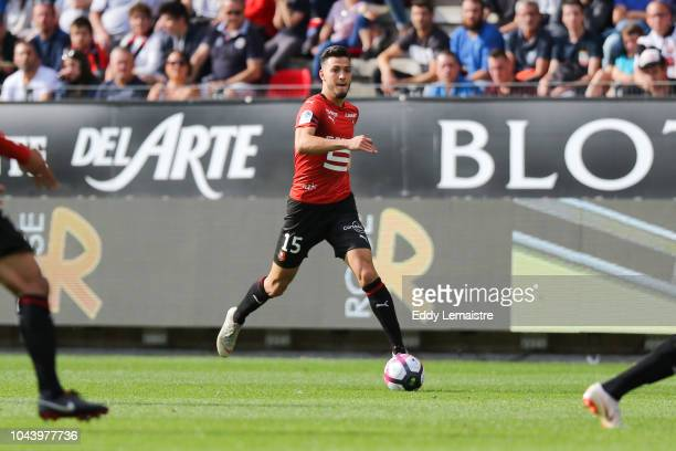 Ramy Bensebaini of Rennes during the Ligue 1 match between Rennes and Toulouse at Roazhon Park on September 30 2018 in Rennes France