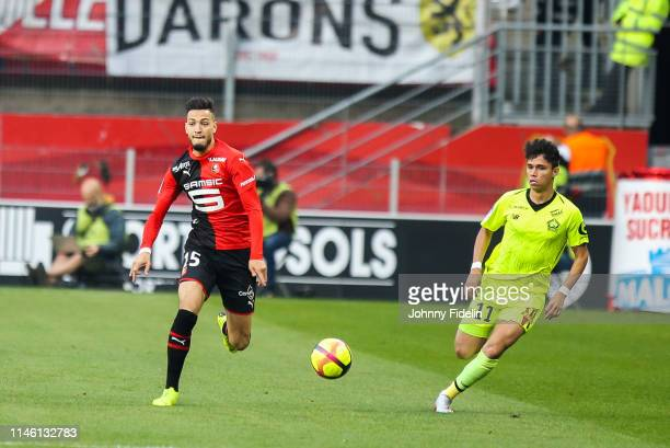 Ramy Bensebaini of Rennes during the Ligue 1 match between Stade Rennais football club and LOSC Lille Association on May 24 2019 in Rennes France