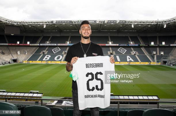 Ramy Bensebaini pose for a picture at BorussiaPark on August 14 2019 in Moenchengladbach Germany