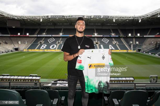 Ramy Bensebaini pose for a picture at Borussia-Park on August 14, 2019 in Moenchengladbach, Germany.