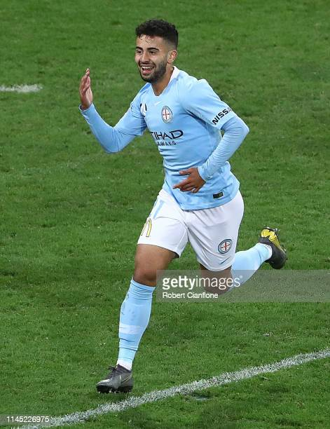 Ramy Najjarine of the Melbourne City celebrates after scoring a goal during the round 27 ALeague match between Melbourne City and the Central Coast...