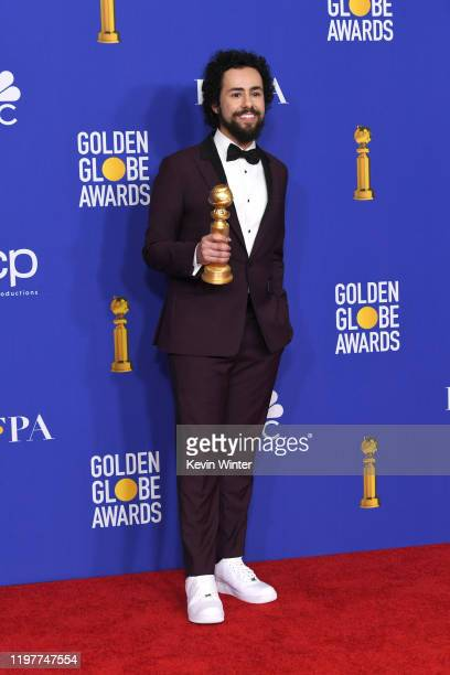 Ramy Youssef winner of Best Performance by an Actor In a Television Series Musical or Comedy poses in the press room during the 77th Annual Golden...