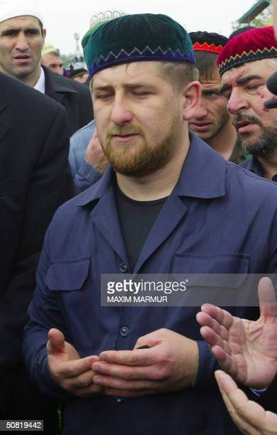 Ramzan Kadyrov son and security chief of the assassinated proRussian Chechen leader Akhmad Kadyrov prays during his father funeral in the village of...