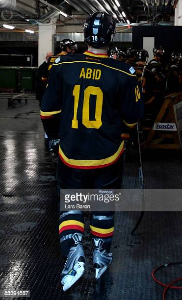 Ramzi Abid of Bern leaves the ice during the IIHF Champions Hockey League match between SC Bern and Espoo Blues at the PostFinance Arena on October...