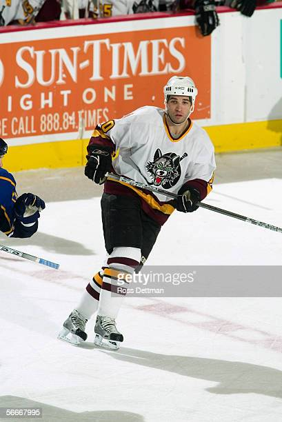 Ramzi Abid of the Chicago Wolves skates against the Peoria Rivermen at Allstate Arena on December 11 2005 in Rosemont Illinois The Wolves won 41