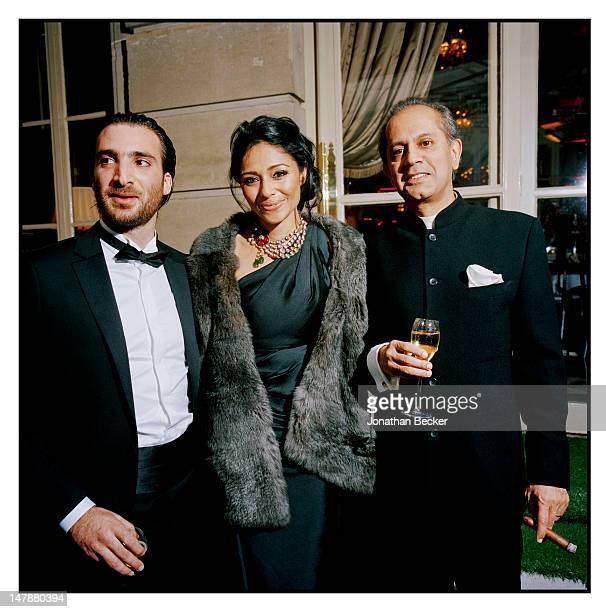Ramzi Wakim Kalyani Chawla and Tarun Kataria are photographed at the Crillon Debutante Ball for Vanity Fair Magazine on November 26 2011 in Paris...