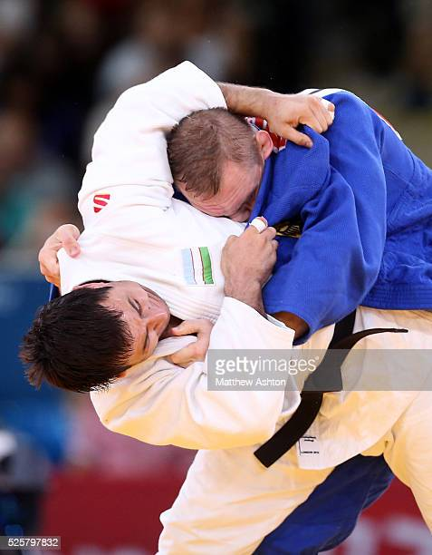 Ramziddin Sayidov of Uzbekistan and Dimitri Peters of Germany at Excel Arena London as part of the 2012 London Olympic games on 2nd August 2012