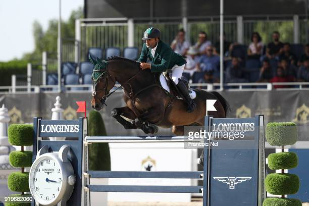 Ramzy Al Duhami of Saudi Arabia rides Ted during The President of the UAE Show Jumping Cup at Al Forsan on February 17 2018 in Abu Dhabi United Arab...