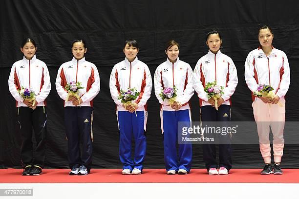 Rana NakanoAyano KishiChisato DoihataReina SatakeMegu Uyama and Ayana Yamada of the Japan national team pose for a photograph after the day two of...