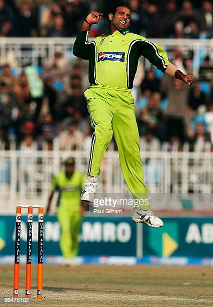 Rana NavedulHasan of Pakistan celebrates taking the wicket of Ian Blackwell of England during the fifth one day international match between Pakistan...