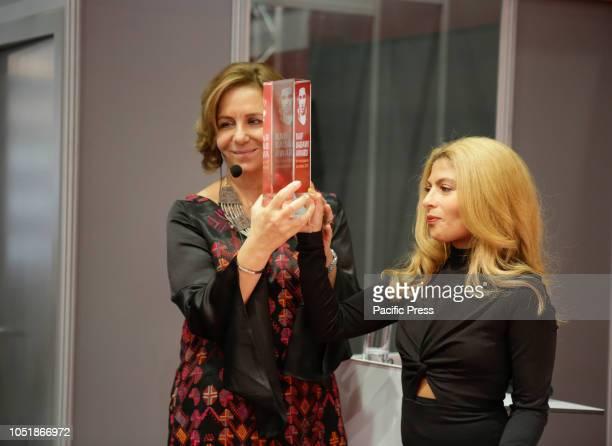 FRANKFURT FRANKFURT HESSE GERMANY Rana Sabbagh the executive director of Arab Reporters for Investigative Journalism the winner of the award receives...