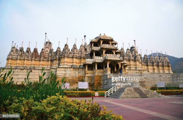 ranakpur jain temple in rajasthan, india. - jain temple stock photos and pictures