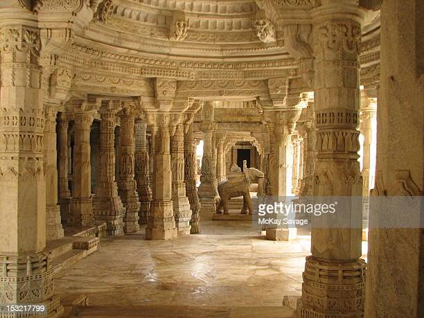 ranakpur jain temple - jain temple stock photos and pictures