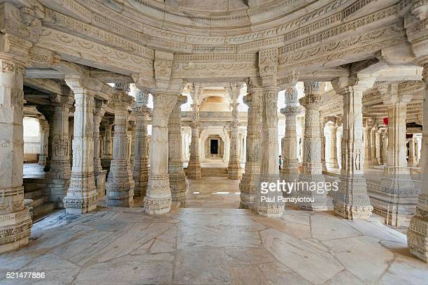 ranakpur jain temple, rajasthan, india - jain temple stock photos and pictures