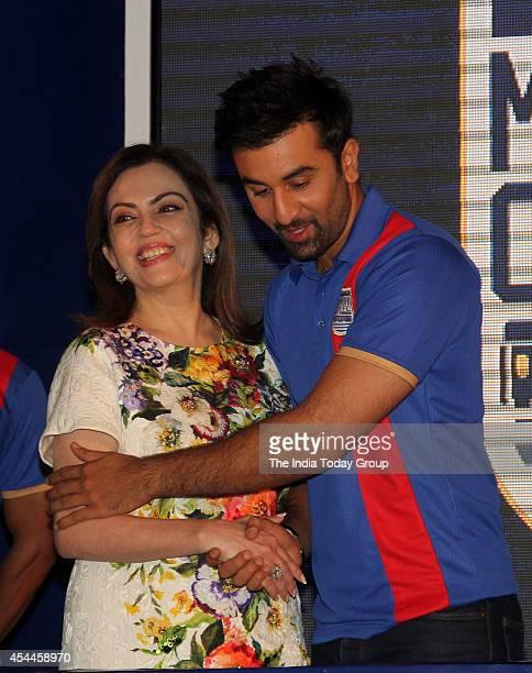 Ranbir Kapoor and Neeta Ambani at the launch of Mumbai franchise of the Indian Super League called Mumbai City Football Club