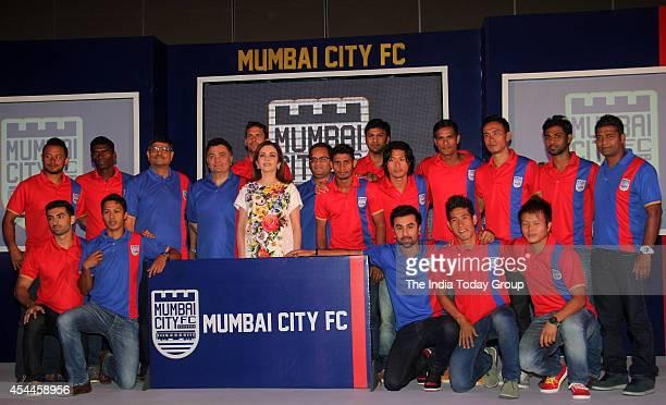 Ranbir Kapoor Neeta Ambani and Rishi Kapoor at the launch of Mumbai franchise of the Indian Super League called Mumbai City Football Club