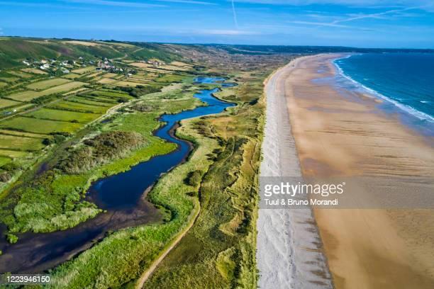 rance, normandy, manche department, cotentin, cap de la hague, vauville beach and  mare de vauville natural reserve - the hague stock-fotos und bilder