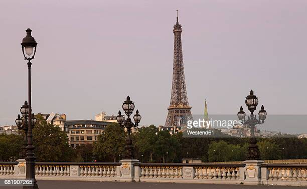 rance, paris, pont alexandre iii, eiffel tower in background - pont alexandre iii photos et images de collection