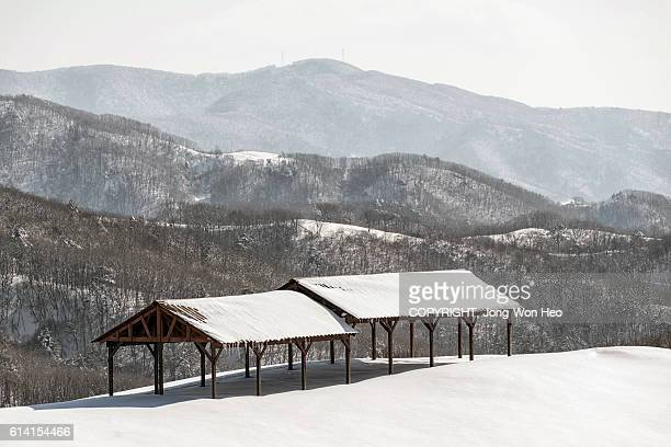 Ranch gazebos on the hilltop