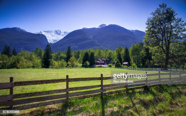 ranch in mountains under clear blue sky, british columbia, canada - ranch stock pictures, royalty-free photos & images