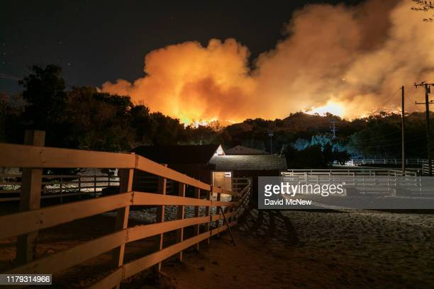 A ranch is threatened by the Maria Fire as it explodes to 8000 acres on its first night on November 1 2019 near Somis California Southern California...