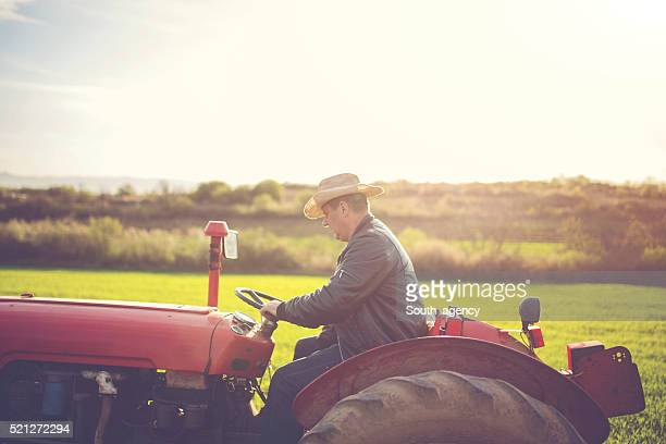 Rancher driving throuhg ranch