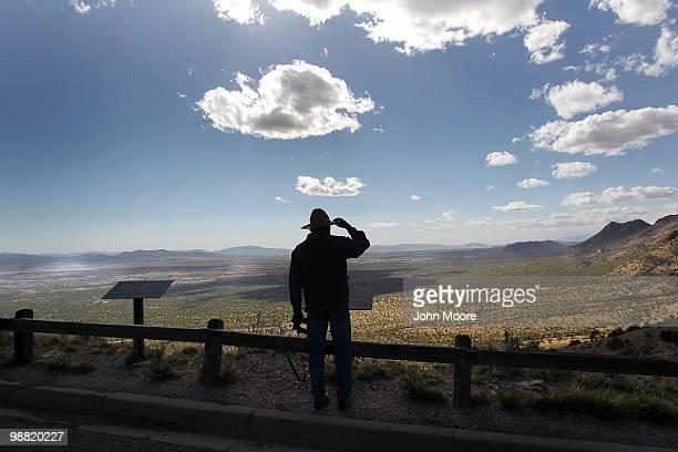 Rancher Geoffrey Patch looks over the border between the United States and Mexico on May 2 2010 from Montezuma Pass Arizona Although the US...