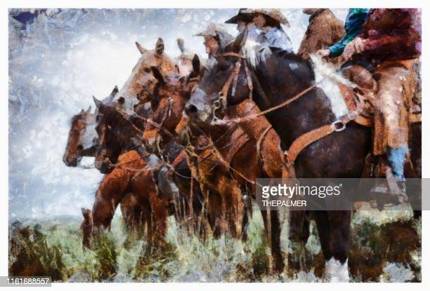 ranchers on horses in utah - digital photo manipulation - wild west stock pictures, royalty-free photos & images