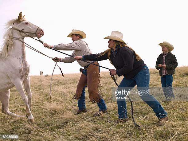 Ranchers roping horse