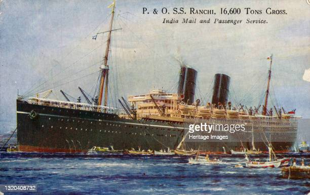 Ranchi 600 Tons Gross, India Mail and Passenger Service, 1934. The Ranchi, sailed on a scheduled route between England and Bombay. Artist Unknown.