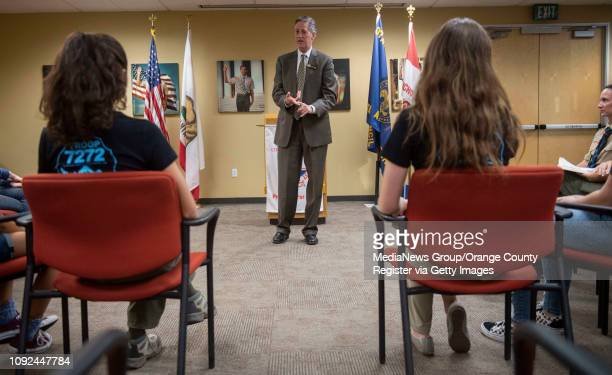 Rancho Santa Margarita Mayor Pro Tem Bradley McGirr speaks during a ceremony to submit an application for the county's first allgirl Boy Scout Troop...