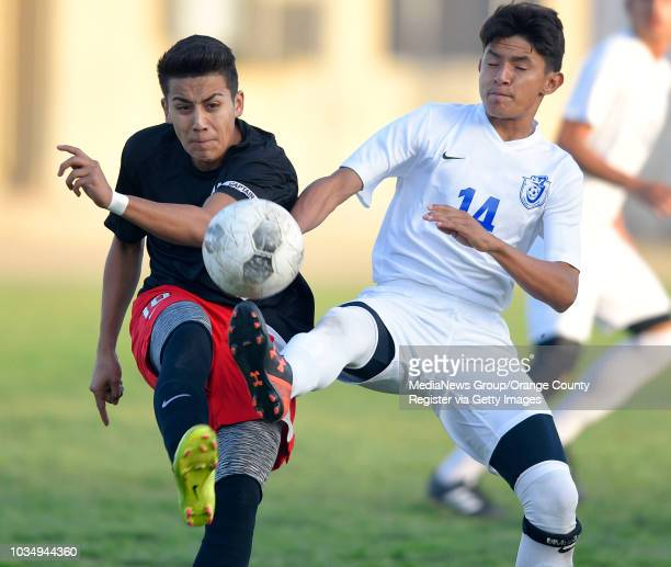 Rancho Verde's Eduardo Garcia left and Jordan's Adrian Martinez converge on a loose ball in Long Beach CA on Tuesday March 1 2016 Jordan...